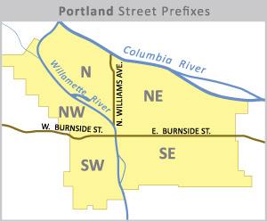 Portland grid map for street prefixes