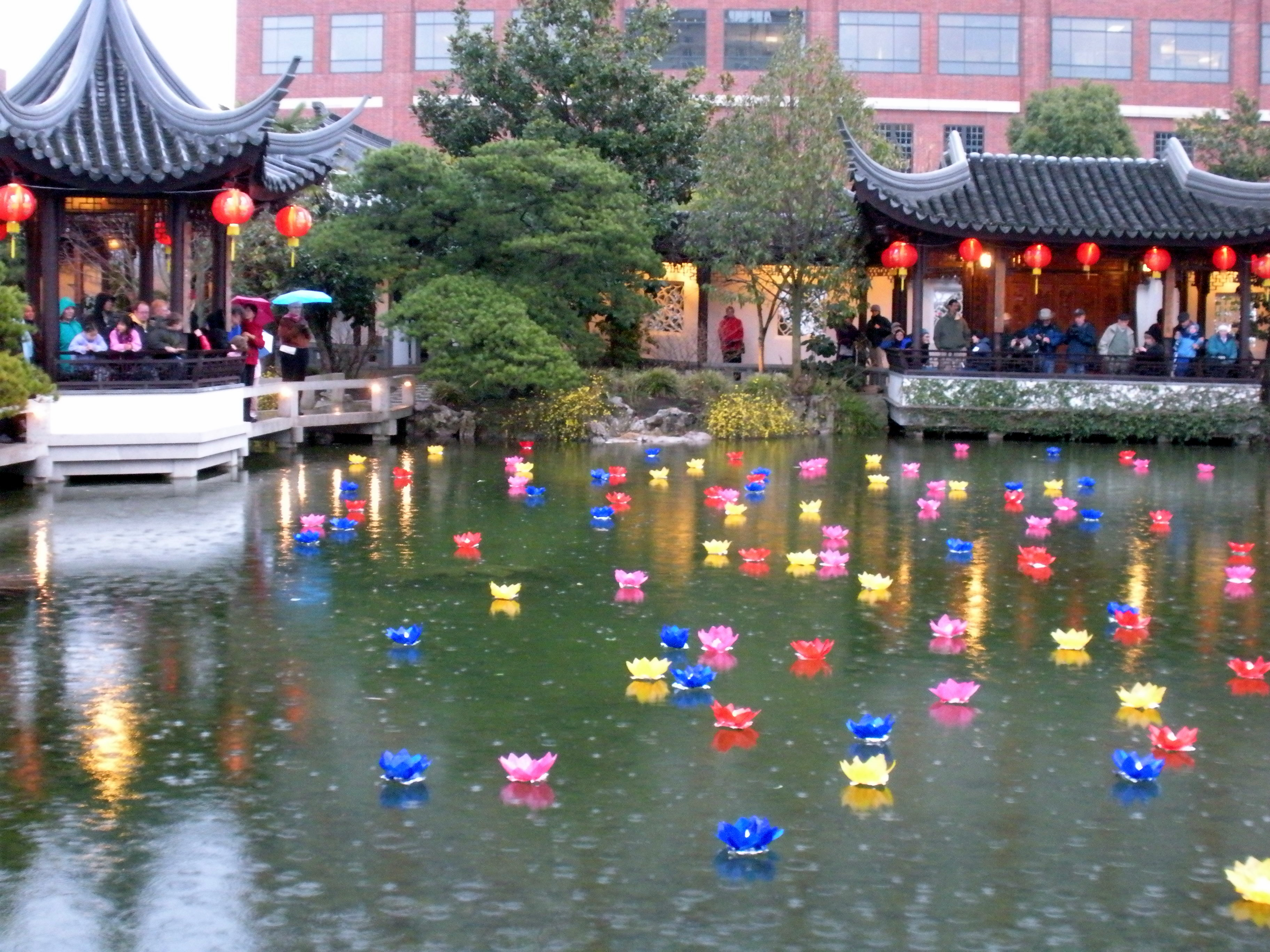 Lantern Festival in the rain at Lan Su Chinese Gardens